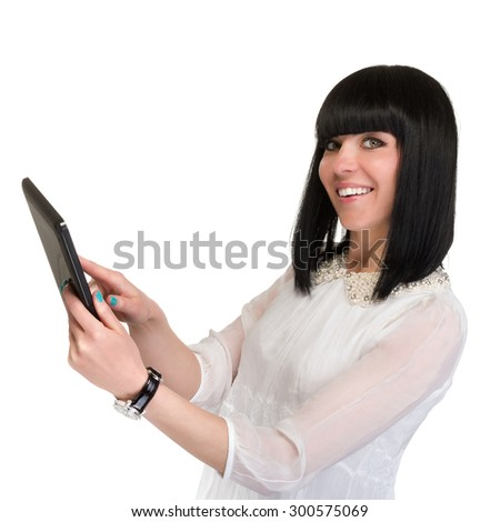 Business woman is showing smart phone, isolated on white background. - stock photo