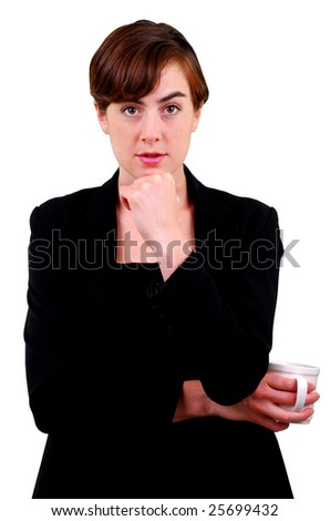 Business woman is thinking - stock photo