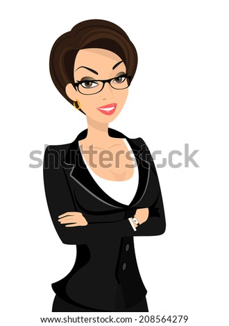 Business woman is wearing black suit isolated on white - stock photo
