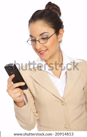 Business woman is writing message on phone, isolated - stock photo