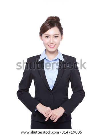 business woman isolated on white background, asian beauty - stock photo