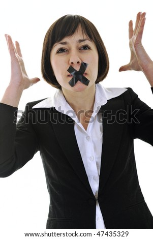 business woman isolated on white with black tape on mouth representing no speech and media