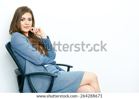 Business woman isolated portrait on white background. Woman sitting in office chair. beautiful smiling female model posing . - stock photo