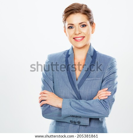 Business woman isolated white background portrait. Business suit. Crossed arms.