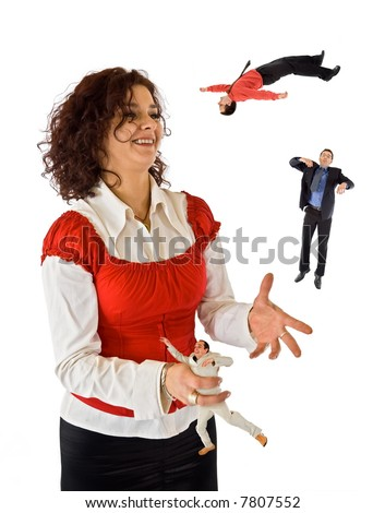 Business woman juggling with mans