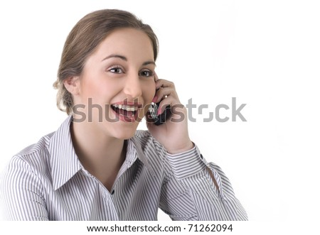 Business woman  laughs and talking on the phone