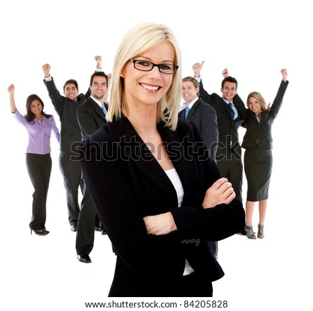 Business woman leading a successful corporate group ? isolated - stock photo
