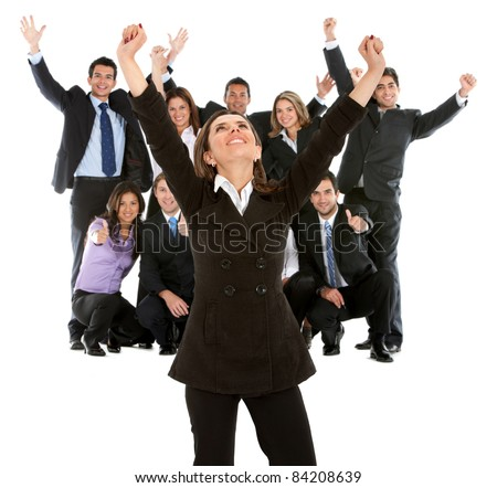 Business woman leading a successful team with arms up ? isolated - stock photo