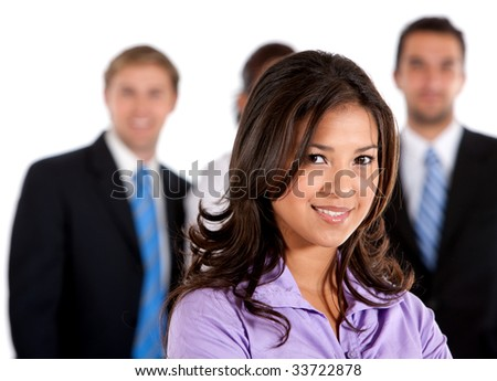 business woman leading a team isolated over white