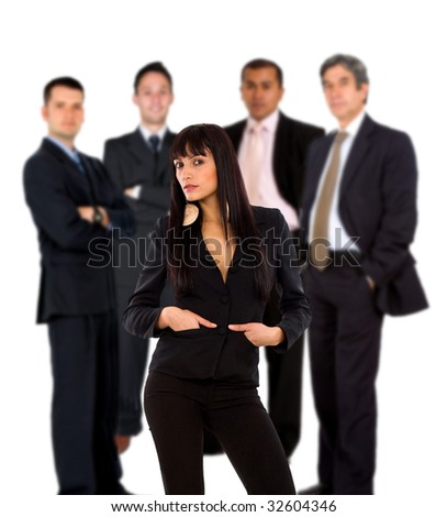 business woman leading a team of men isolated