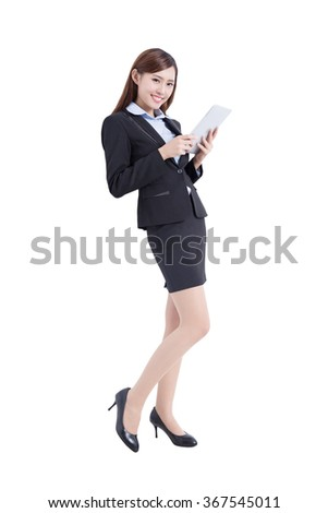 business woman lean and use digital tablet pc isolated on white background, asian - stock photo