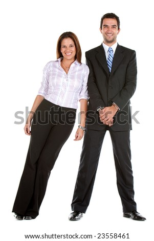 Business woman leaning on his partner isolated on white