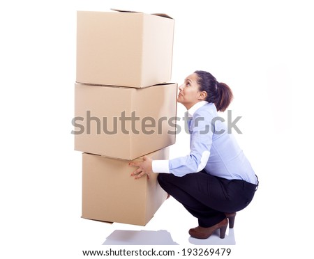 Business woman lifting card boxes, isolated on white background