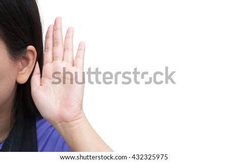 Business woman listening with hand to ear concept. Businesswoman listen to something smiling happy. Beautiful multicultural mixed race Asian Caucasian young female  - stock photo