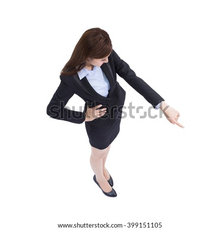 business woman look and pointing something isolated on white background, high angle view, asian beauty