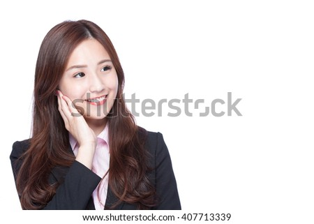 business woman look and think something isolated on white background, asian beauty