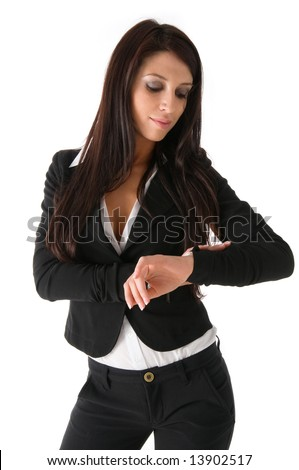 Business woman look at her wrist watch, isolated on a white background - stock photo