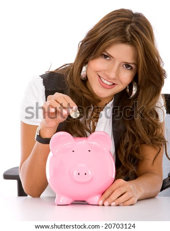 business woman looking at her savings in a piggy bank