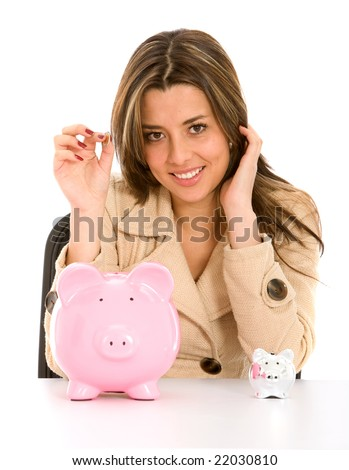 business woman looking at her savings in a piggy bank isolated on white