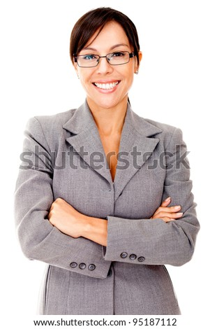 Business woman looking friendly and smiling - isolated over white - stock photo
