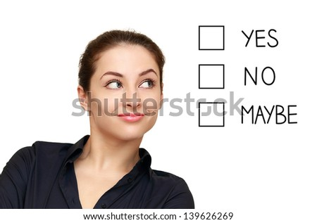 Business woman looking on screen option and making decision isolated on white background
