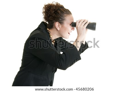 Business woman looking through binoculars - stock photo