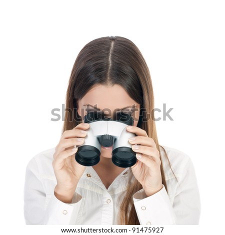 Business woman looking through binoculars. - stock photo