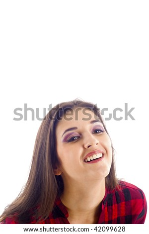 Business Woman Looking up and Smiling- Isolated over White Background