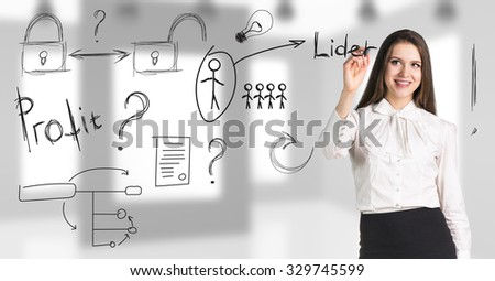 Business woman makes notes on the office background