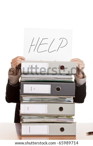 business woman needs help to manage work. Isolated on white background. - stock photo
