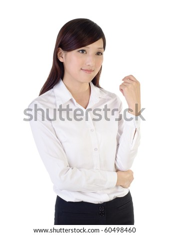 Business woman of Asian, closeup portrait on white background.