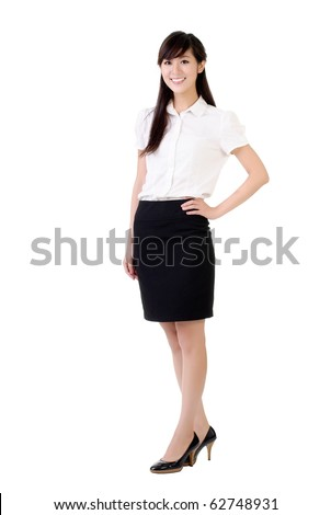 Business woman of Asian smiling, full length portrait isolated on white.
