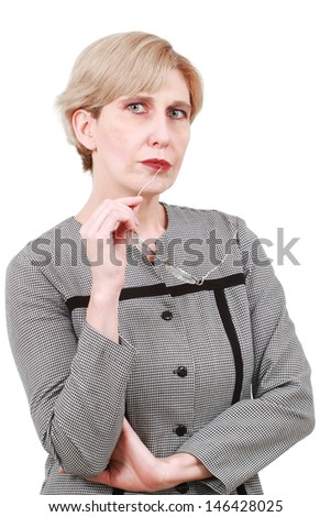 Business woman of middle age isolated on white - stock photo
