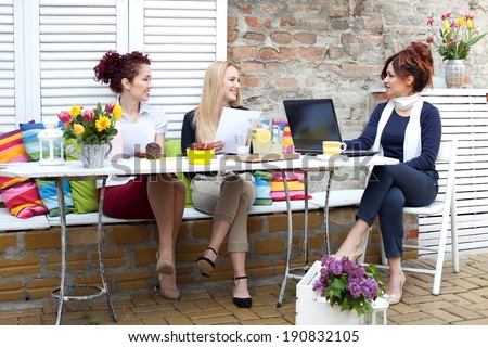 Business woman on a coffee break - stock photo