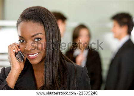 business woman on a phone at the office
