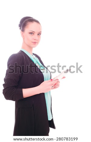 business woman  on an isolated background with a tablet