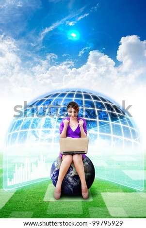 Business woman on globe and Digital world background on grass field  : Elements of this image furnished by NASA - stock photo