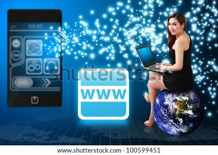 Business woman on globe and World Wide Web icon from mobile phone : Elements of this image furnished by NASA - stock photo