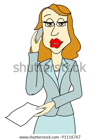 business woman on phone - stock photo