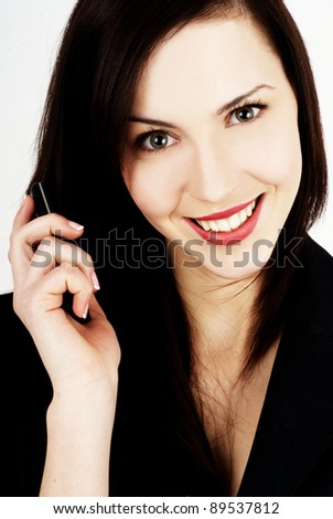 Business woman on phone - close-up