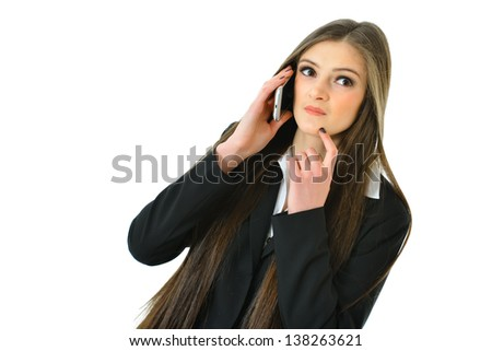 Business Woman on Phone Thinking and Looking Up - stock photo