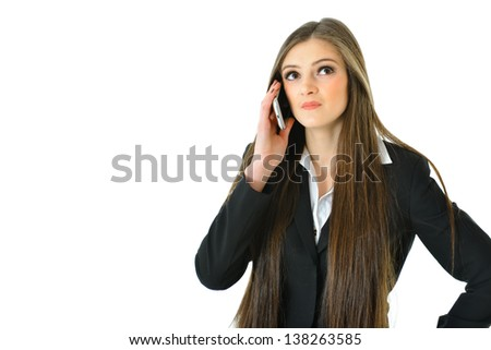 Business Woman on Phone with Hand on Hip - stock photo