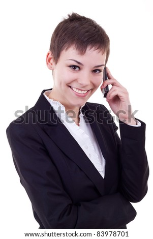 Business woman on the phone isolated against white background