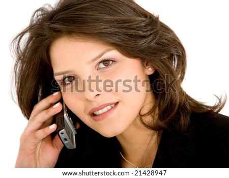 Business woman on the phone isolated over a white background