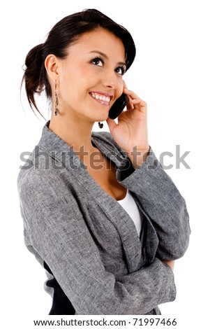 Business woman on the phone ? isolated over a white background - stock photo