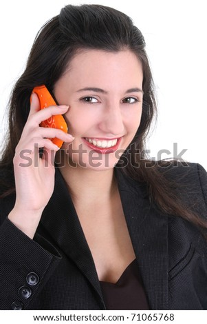 Business woman on the phone over white - stock photo