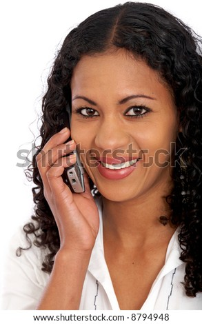 business woman on the phone smiling and isolated over a white background - stock photo