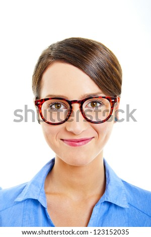 Business woman on white background with blue shirt