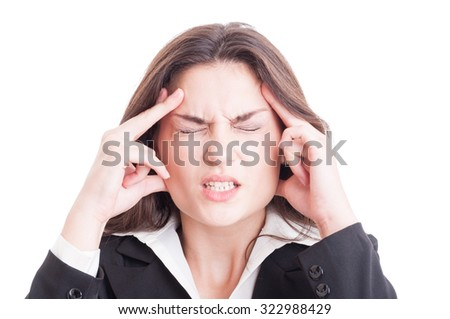 Business woman or financial manager having a stressful headache and migraine isolated on white background