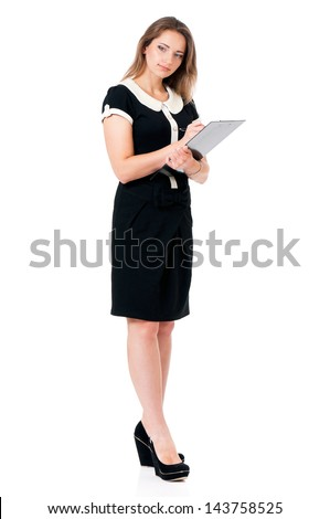 Business woman or teacher holding a clipboard, isolated on white background